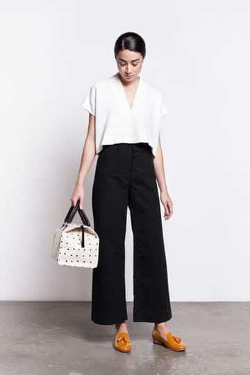 pantalones negros para mujer bota ancha