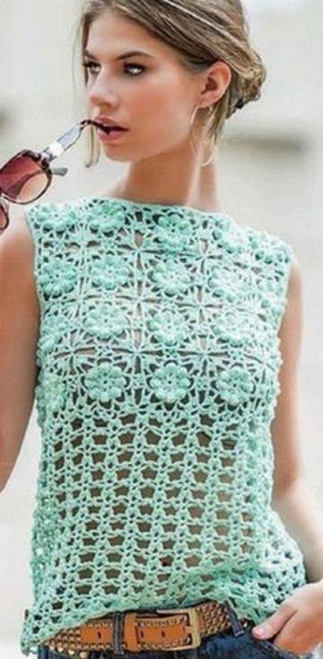 blusas tejidas de crochet sin mangas