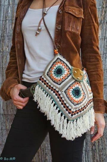 bolsos juveniles tejidos a crochet con flecos