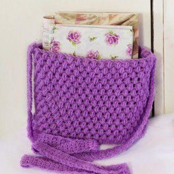 bolsos juveniles tejidos a crochet lila