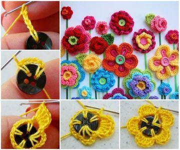 como hacer botones a crochet divertidos