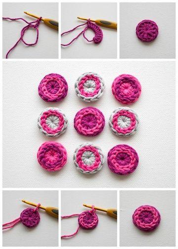 como hacer botones a crochet faciles)