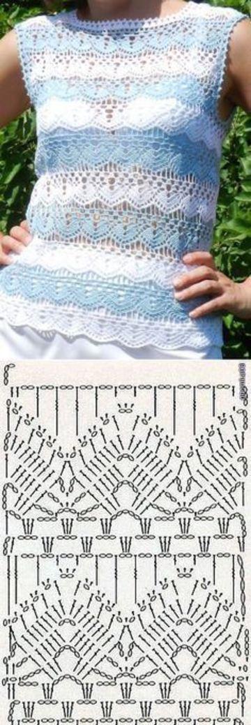 esquemas de blusas a crochet a dos colores