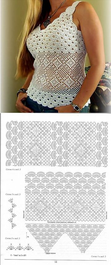 esquemas de blusas a crochet descotadas
