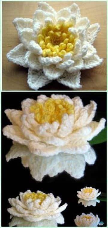 flores tejidas a crochet en 3d para decorar