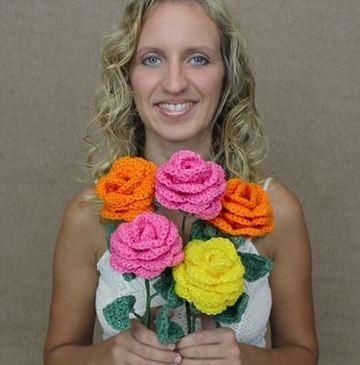 flores tejidas a crochet en 3d rosas grandes