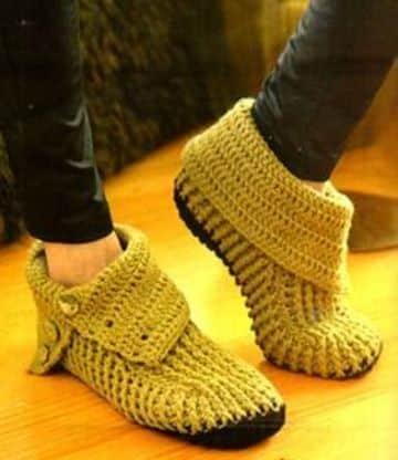 pantuflas tejidas para dama con suela