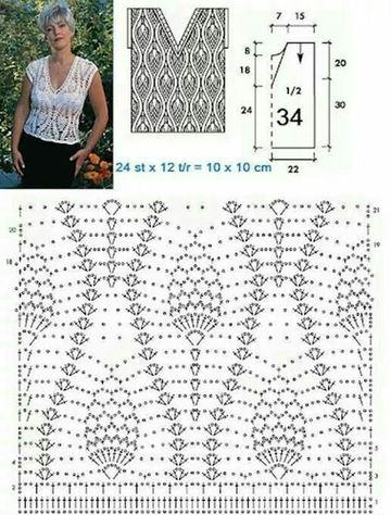 patrones de crochet para imprimir blusa cuello v