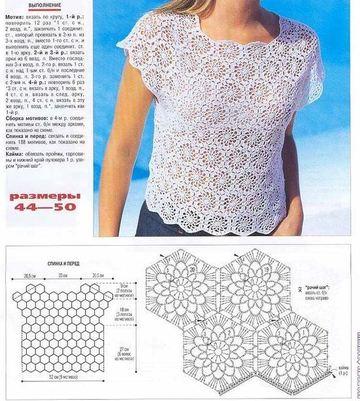 patrones de crochet para imprimir blusa manga corta