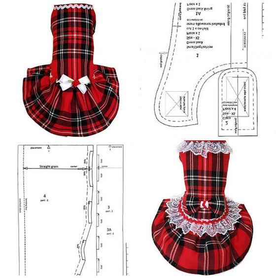 patrones de ropa para perros vestido con encajes