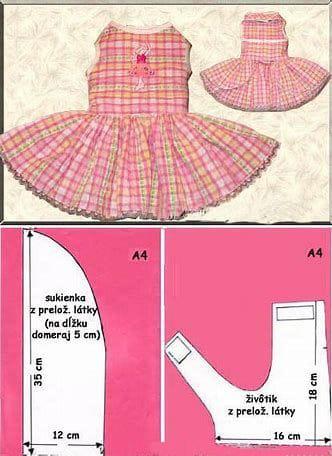 patrones de ropa para perros vestido sencillo