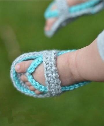 sandalias tejidas para bebe niña