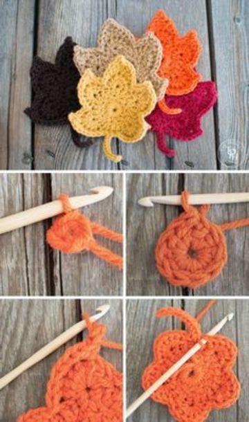 agarraderas a crochet paso a paso forma de hoja