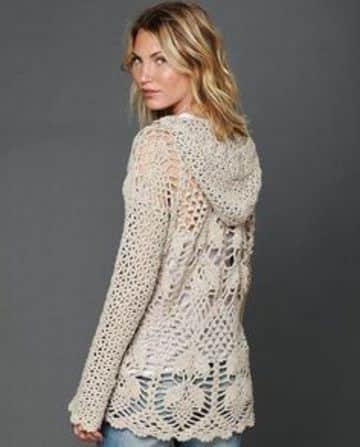 camperas tejidas al crochet con capucha