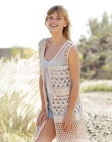 chalecos de verano a crochet largos