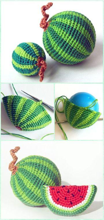 frutas a crochet paso a paso sandia