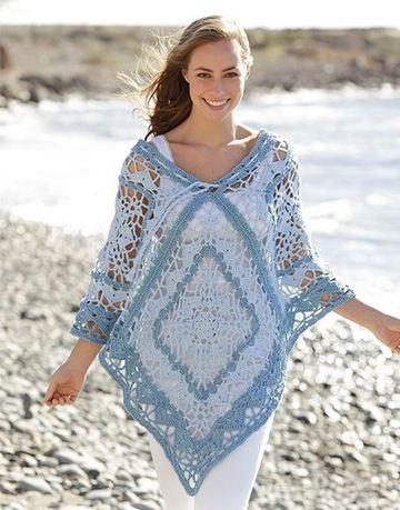 ponchos de verano a crochet en colores pasteles