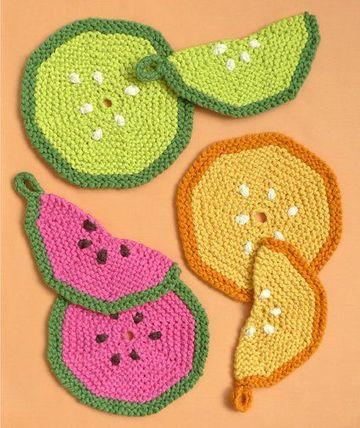 toma ollas a crochet de frutas