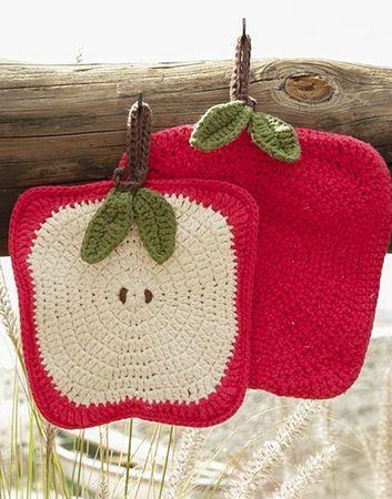 toma ollas a crochet de manzana