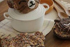 Las agarraderas tejidas para cocina divertidas y decorativas
