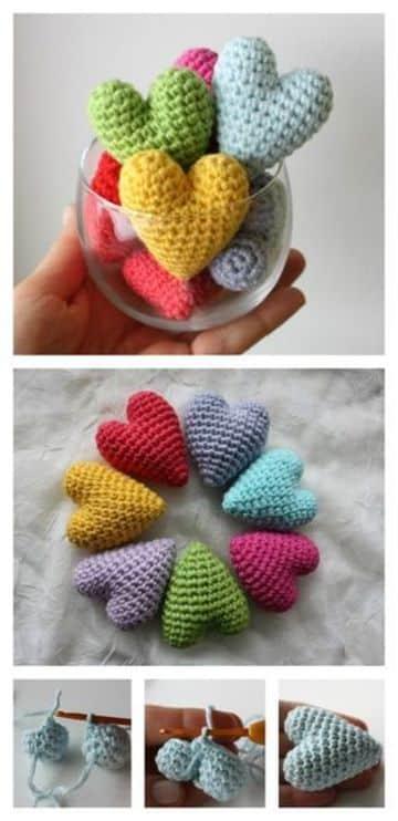 corazones a crochet rellenos colores pasteles