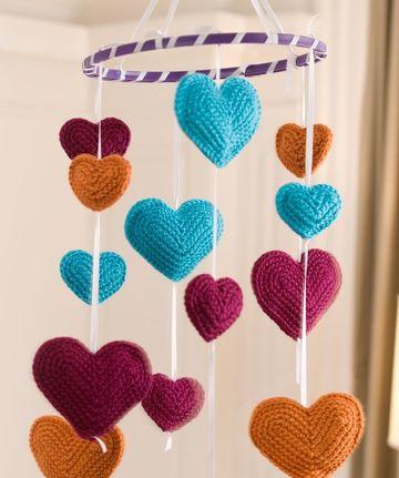 corazones a crochet rellenos para movil
