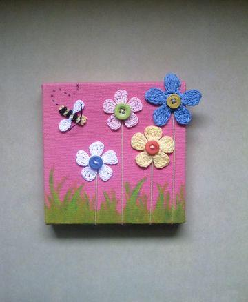 cuadros a crochet con flores sencillo