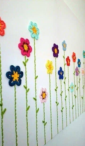 cuadros a crochet con flores tipo mural