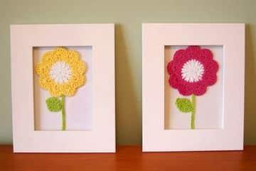 cuadros a crochet con flores tipo solitario