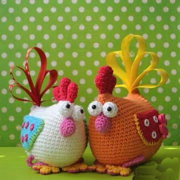gallinas tejidas a crochet para decorar
