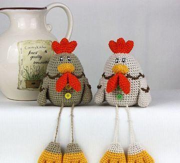gallinas tejidas a crochet patas largas