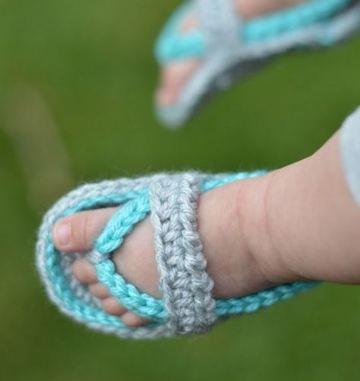 huaraches tejidos para bebe azul y gris