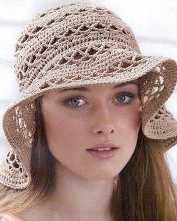 imagenes de gorros tejidos para mujeres playeros
