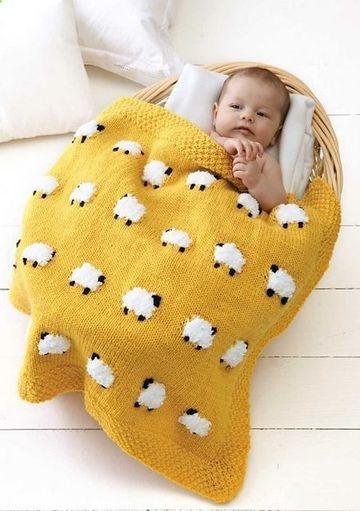 mantas tejidas para bebes de ovejitas