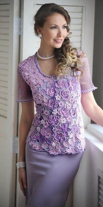 tejido irlandes a crochet en blusa elegante