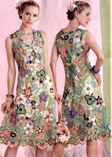 tejido irlandes a crochet en vestido de flores