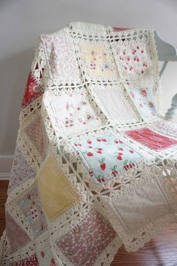 tejidos a crochet para colchas con cuadros de tela