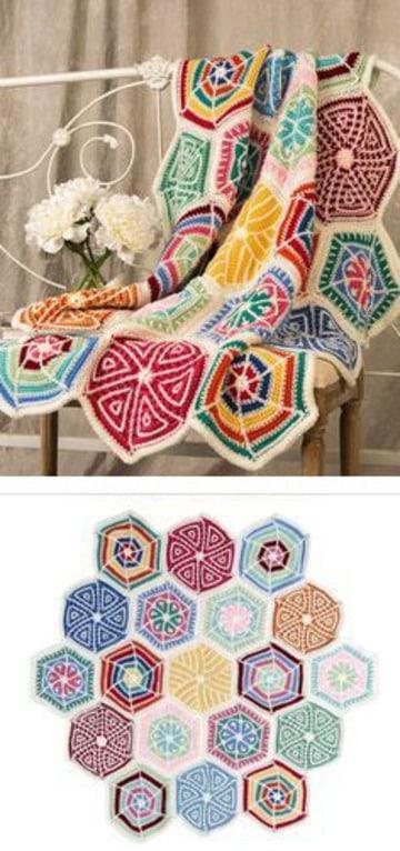 tejidos a crochet para colchas de colores