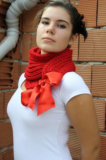 chalinas de lana para mujer con lazo