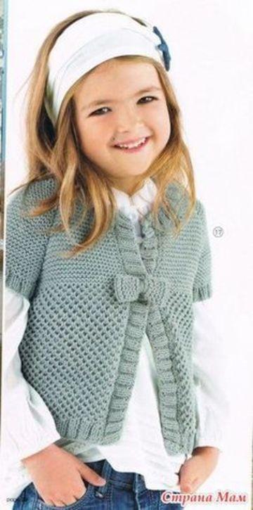 boleros a crochet para niña manga corta