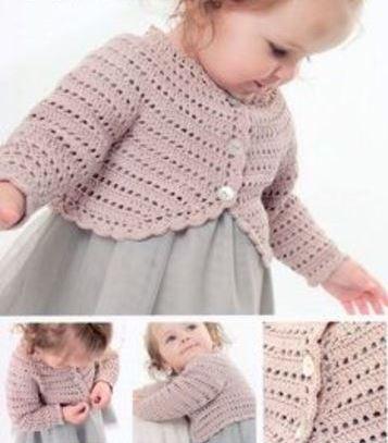boleros a crochet para niña manga larga