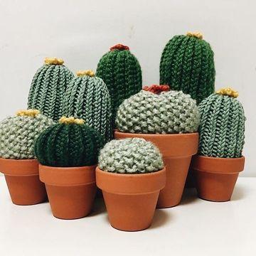 cactus tejidos a crochet en maceta de barro