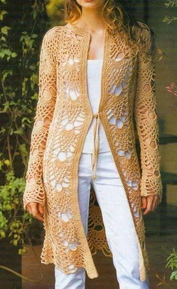 chompas tejidas a crochet para damas largas