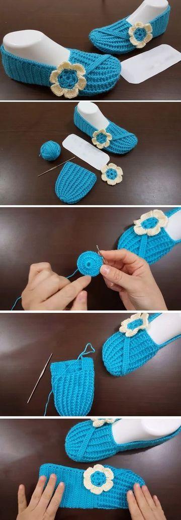 como hacer pantuflas a crochet juveniles
