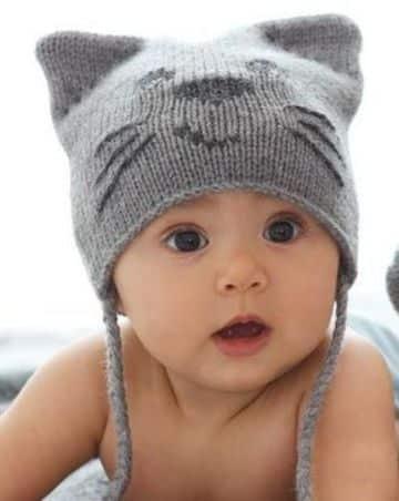 gorros tejidos de gato para bebes