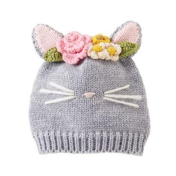 gorros tejidos de gato para niñas