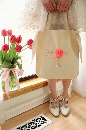 bolsas de tela decoradas de conejo