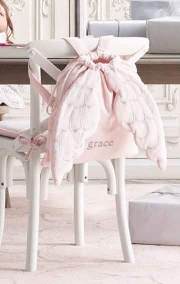 bolsas de tela para niños con alas de angel