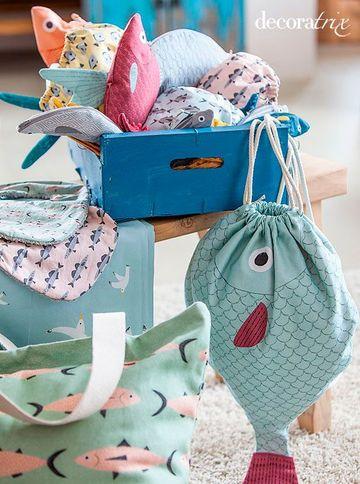 bolsas de tela para niños de peces