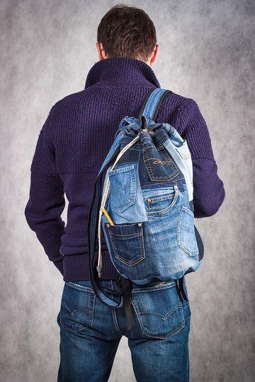 como hacer bolsos de jeans para caballeros